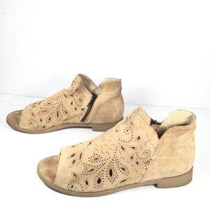 Cool Way Open Toe Ankle Booties Tan Size 10